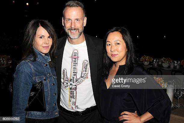 Kelly Lamb Dan Rothmann and Celia Chen attend Chloe W Magazine and MOCA Host Private Rooftop Dinner with MOCA Director Philippe Vergne at MOCA Grand...
