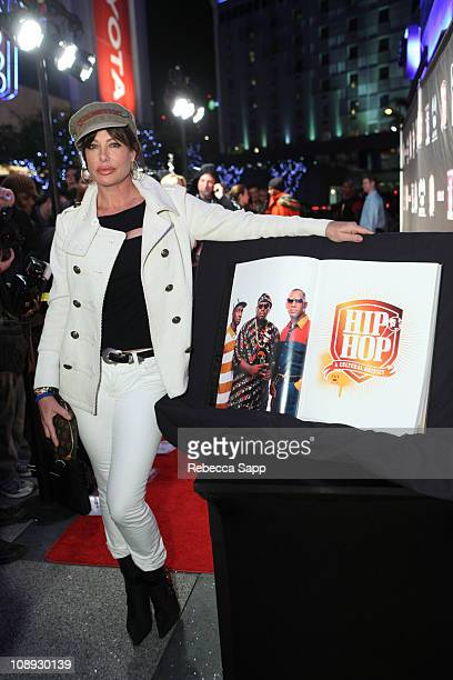 Kelly LeBrock arrives at the book launch for 'Hip Hop A Cultural Odyssey' at The GRAMMY Museum on February 8 2011 in Los Angeles California