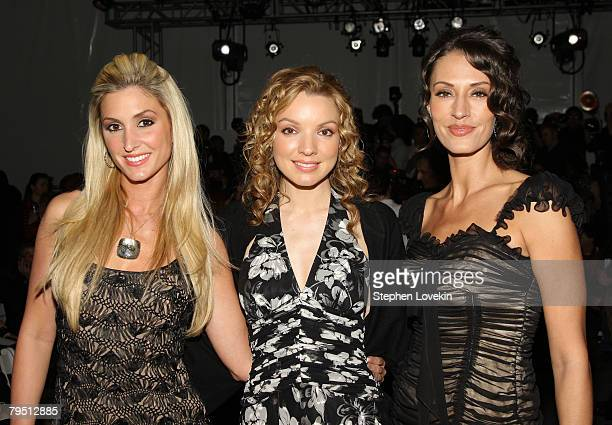 Kelly Levesque Joy Kabanuck and Sara Gettelfinger of The Three Graces attends the Pamella Roland 2008 fashion show during MercedesBenz Fashion Week...