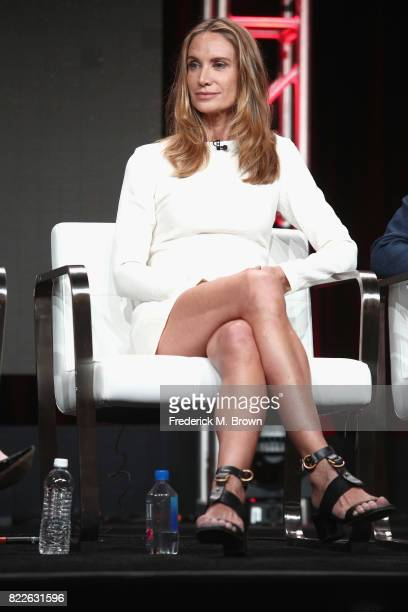 Kelly Lynch of 'Mr. Mercedes' speak onstage during the AT&T Audience Network portion of the 2017 Summer Television Critics Association Press Tour at...