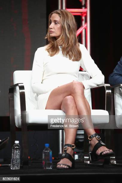 Kelly Lynch of 'Mr Mercedes' speak onstage during the ATT Audience Network portion of the 2017 Summer Television Critics Association Press Tour at...