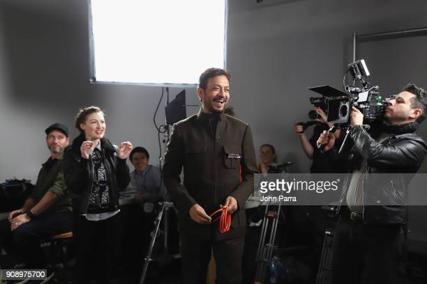 Kelly Macdonald and Irrfan Khan from 'Puzzle' attend The Hollywood Reporter 2018 Sundance Studio at Sky Strada Park City on January 22 2018 in Park...