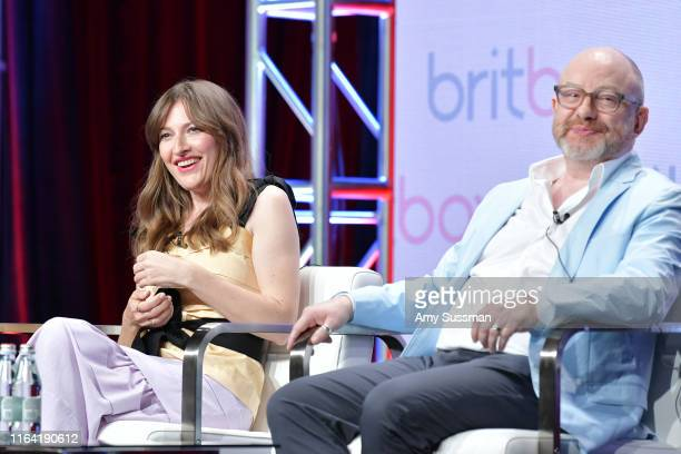 Kelly Macdonald and Paul Sheehan of The Victim speak during the BritBox segment of the Summer 2019 Television Critics Association Press Tour 2019 at...
