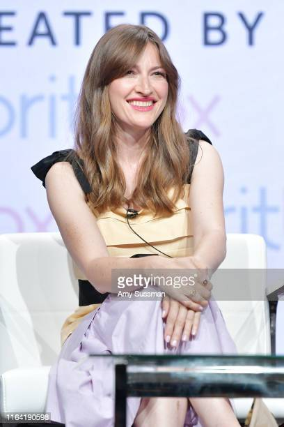 Kelly Macdonald of The Victim speaks during the BritBox segment of the Summer 2019 Television Critics Association Press Tour 2019 at The Beverly...