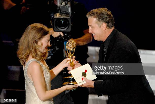 Kelly MacDonald winner Outstanding Supporting Actress in a Miniseries or Movie for 'The Girl in the Cafe'' accepts from William Petersen
