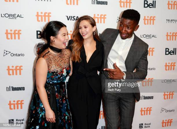 Kelly Marie Tran Elizabeth Olsen and Mamoudou Athie attend the Sorry For Your Loss premiere during 2018 Toronto International Film Festival at TIFF...