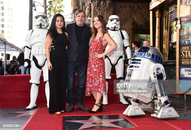 Kelly Marie Tran Mark Hamill Billie Lourd at Mark Hamill's star ceremony on the Hollywood Walk of Fame on March 8 2018 in Hollywood California