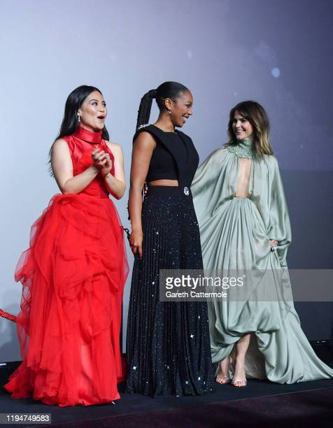 "Kelly Marie Tran, Naomi Ackie and Keri Russell attend the European premiere of ""Star Wars: The Rise of Skywalker"" at Cineworld Leicester Square on..."
