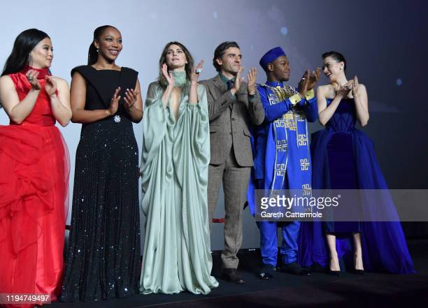"Kelly Marie Tran, Naomi Ackie, Keri Russell, Oscar Isaac, John Boyega and Daisy Ridley attend the European premiere of ""Star Wars: The Rise of..."
