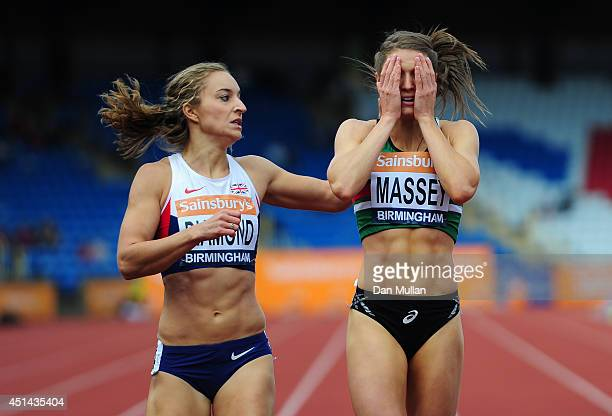 Kelly Massey reacts after winning the Women's 400m Final with Emily Diamond during day three of the Sainsbury's British Championships at Birmingham...