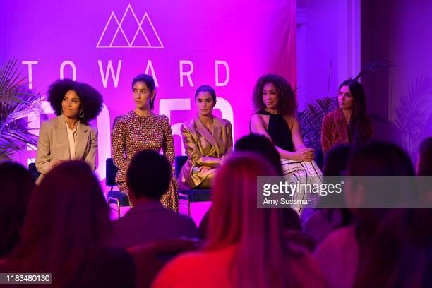Kelly McCreary Stephanie Beatriz Diane Guerrero Gina Torres and Sarah Shahi speak onstage during TheWrap's Power Women Summit at Fairmont Miramar...