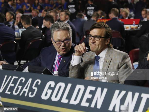 Kelly McCrimmon and George McPhee of the Vegas Golden Knights attend the 2019 NHL Draft at the Rogers Arena on June 22 2019 in Vancouver Canada