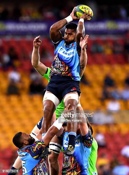 Kelly Meafua of the Waratahs competes at the lineout during the 2018 Global Tens match between the New South Wales Waratahs and the Highlanders at...