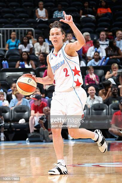 Kelly Miller of the Atlanta Dream dribbles against the Indiana Fever during the WNBA game on May 16 2010 at Philips Arena in Atlanta Georgia The...