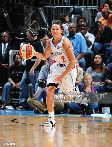 Kelly Miller of the Atlanta Dream handles the ball during Game Three of the 2010 WNBA Finals against the Seattle Storm on September 16 2010 at...