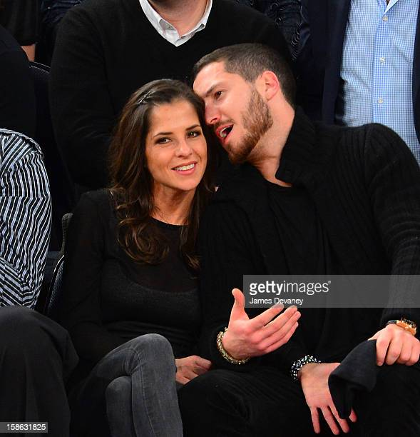 Kelly Monaco and Valentin Chmerkovskiy attend the Chicago Bulls vs New York Knicks game at Madison Square Garden on December 21 2012 in New York City