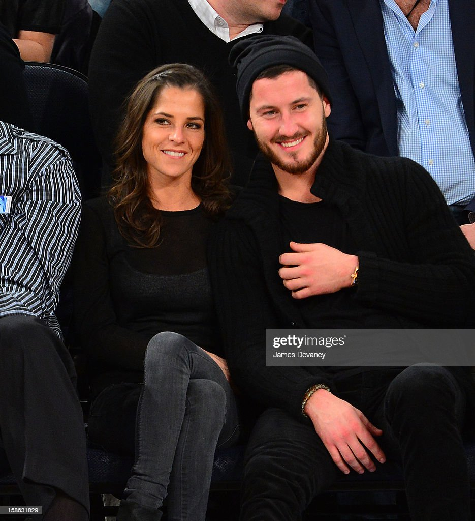 Kelly Monaco and Valentin Chmerkovskiy attend the Chicago Bulls vs New York Knicks game at Madison Square Garden on December 21, 2012 in New York City.