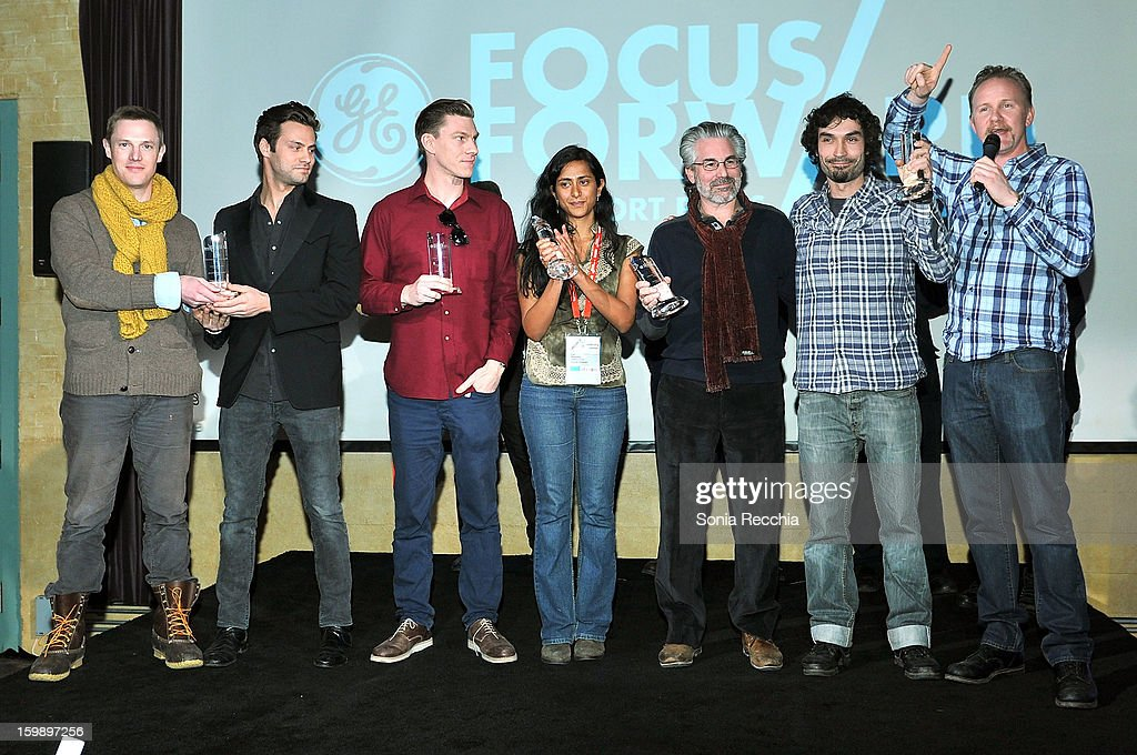 Kelly Nyks, Jared P. Scott, Callum Cooper, Kim Munsamy, Paul Lazarus, Rafel Duran Torrent and Morgan Spurlock attend the Focus Forward, GE and Cinelan Awards Event for 'Girl Rising' at The Shop during the 2013 Sundance Film Festival on January 22, 2013 in Park City, Utah.