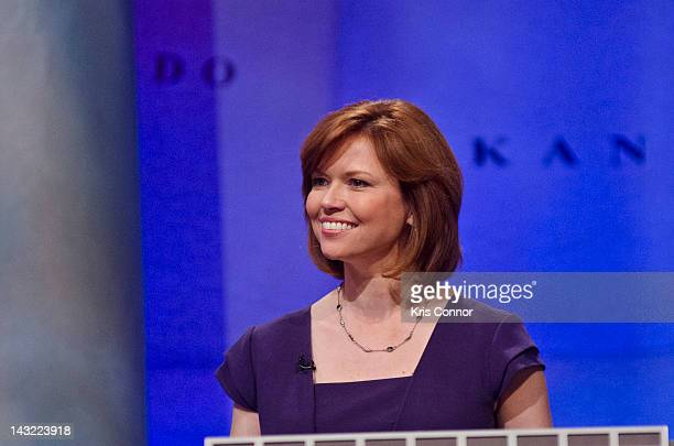 Kelly O'Donnell speaks during a rehearsal before a taping of Jeopardy! Power Players Week at DAR Constitution Hall on April 21, 2012 in Washington,...