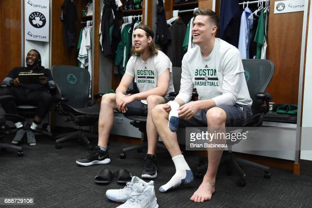 Kelly Olynyk and Jonas Jerebko of the Boston Celtics in the locker room before the game against the Cleveland Cavaliers in Game Five of the Eastern...