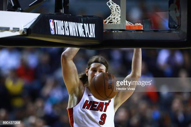 Kelly Olynyk of Miami Heat dunks the ball during the NBA game between the Brooklyn Nets and Miami Heat at Arena Ciudad de Mexico on December 9 2017...