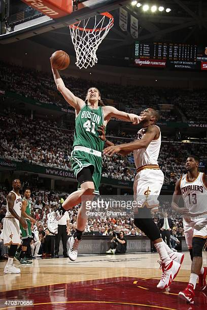 Kelly Olynyk of the Boston Celtics goes up for a shot against the Cleveland Cavaliers during Game One of the Eastern Conference Quarterfinals of the...