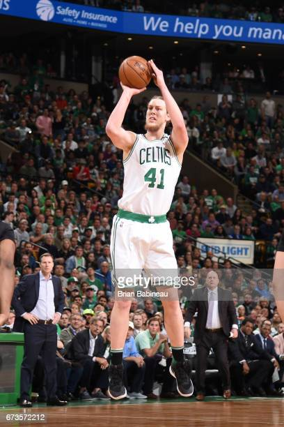 Kelly Olynyk of the Boston Celtics shoots the ball against the Chicago Bulls during Game Five of the Eastern Conference Quarterfinals of the 2017 NBA...
