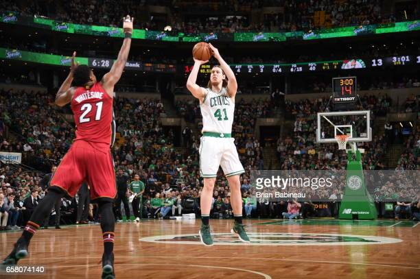 Kelly Olynyk of the Boston Celtics shoots the ball against the Miami Heat on March 26 2017 at the TD Garden in Boston Massachusetts NOTE TO USER User...