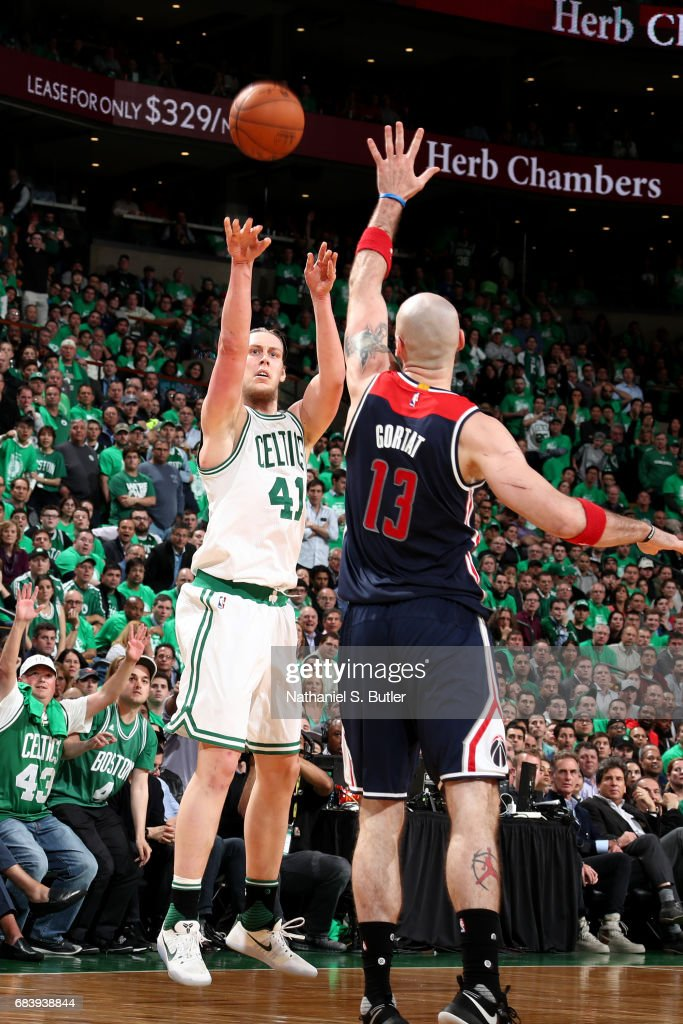 Kelly Olynyk #41 of the Boston Celtics shoots the ball against the Washington Wizards during Game Seven of the Eastern Conference Semifinals of the 2017 NBA Playoffs on May 15, 2017 at TD Garden in BOSTON, MA.