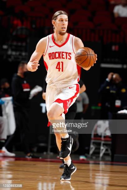Kelly Olynyk of the Houston Rockets dribbles the ball during the game against the LA Clippers on May 14, 2021 at the Toyota Center in Houston, Texas....