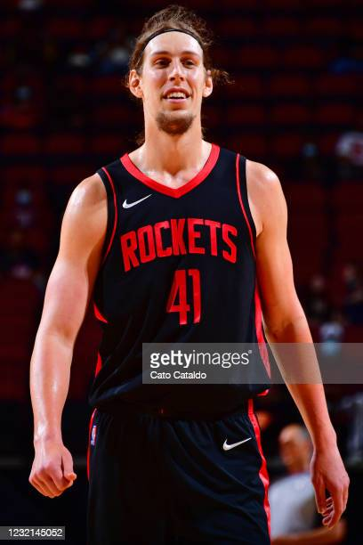 Kelly Olynyk of the Houston Rockets smiles during the game against the Phoenix Suns on April 5, 2021 at the Toyota Center in Houston, Texas. NOTE TO...
