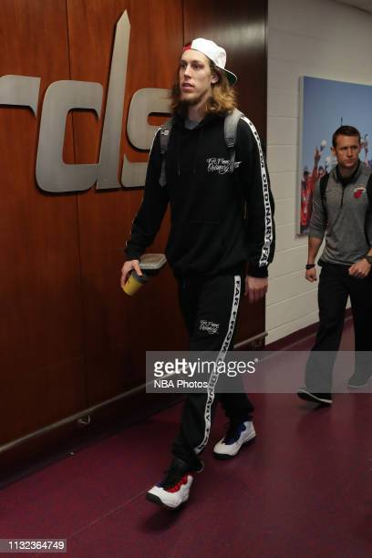 Kelly Olynyk of the Miami Heat arrives to the arena prior to the game against the Washington Wizards on March 23 2019 at Capital One Arena in...