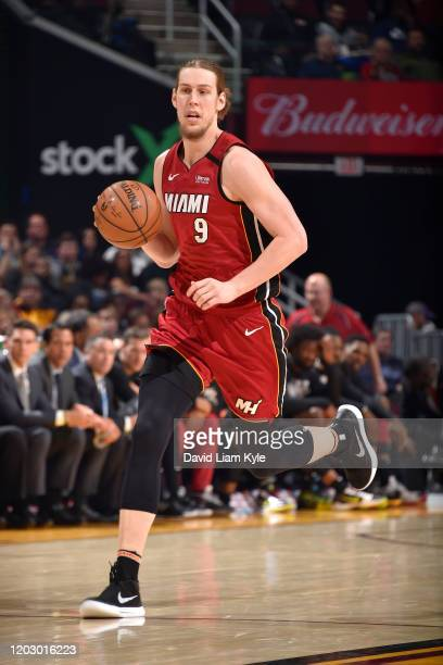 Kelly Olynyk of the Miami Heat drives to the basket on February 24, 2020 at Rocket Mortgage FieldHouse in Cleveland, Ohio. NOTE TO USER: User...