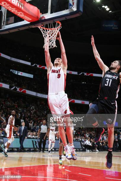 Kelly Olynyk of the Miami Heat dunks the ball against the Washington Wizards on March 23 2019 at Capital One Arena in Washington DC NOTE TO USER User...