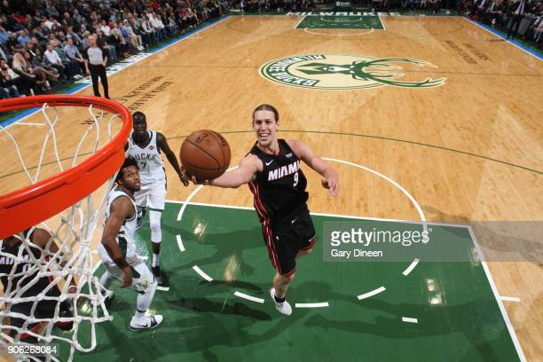 Kelly Olynyk of the Miami Heat goes to the basket against the Milwaukee Bucks on January 17 2018 at the BMO Harris Bradley Center in Milwaukee...