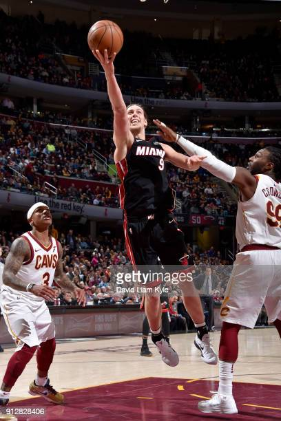 Kelly Olynyk of the Miami Heat goes to the basket against the Cleveland Cavaliers on January 31 2018 at Quicken Loans Arena in Cleveland Ohio NOTE TO...