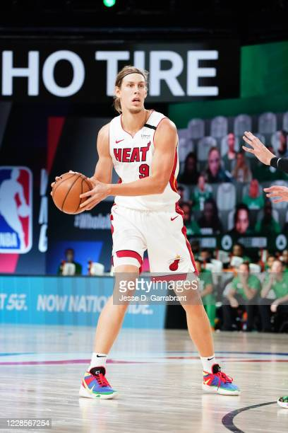 Kelly Olynyk of the Miami Heat handles the ball against the Boston Celtics during Game Two of the Eastern Conference Finals of the NBA Playoffs on...
