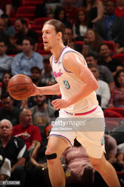 Kelly Olynyk of the Miami Heat handles the ball against the Charlotte Hornets on January 27 2018 at American Airlines Arena in Miami Florida NOTE TO...