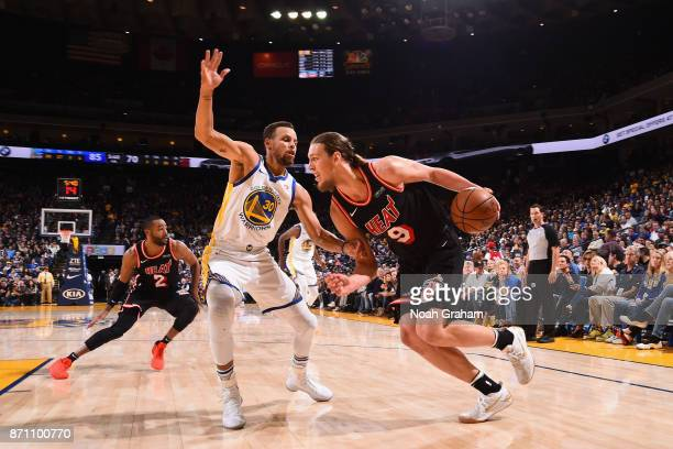 Kelly Olynyk of the Miami Heat handles the ball against the Golden State Warriors on November 6 2017 at ORACLE Arena in Oakland California NOTE TO...