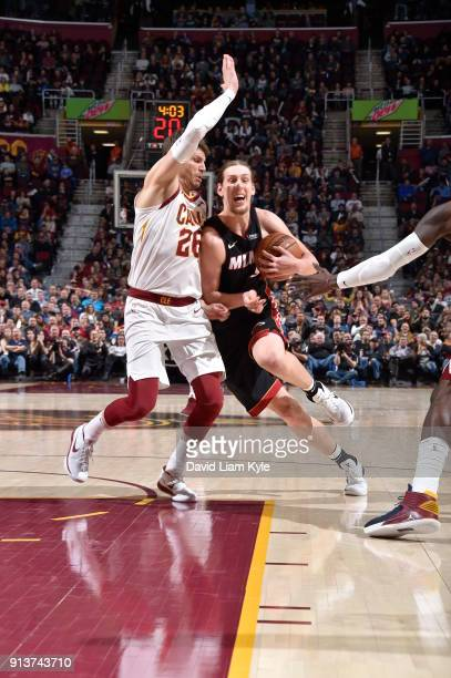 Kelly Olynyk of the Miami Heat handles the ball during the game against the Cleveland Cavaliers on January 31 2018 at Quicken Loans Arena in...