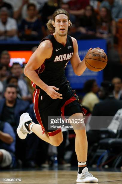 Kelly Olynyk of the Miami Heat in action against the Charlotte Hornets at American Airlines Arena on October 20, 2018 in Miami, Florida. NOTE TO...