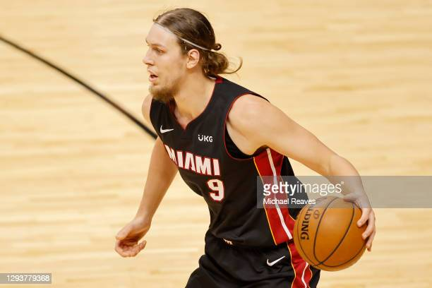 Kelly Olynyk of the Miami Heat in action against the Milwaukee Bucks during the second quarter at American Airlines Arena on December 29, 2020 in...