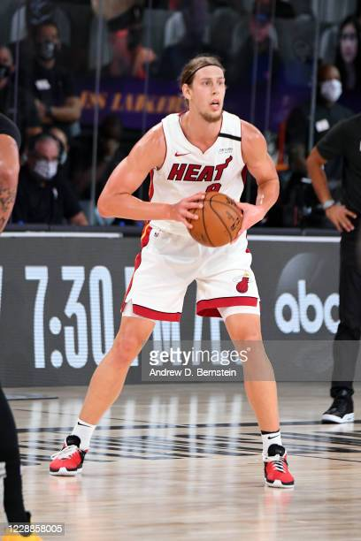 Kelly Olynyk of the Miami Heat looks to pass the ball during the game against the Los Angeles Lakers during Game Two of the NBA Finals on October 2,...