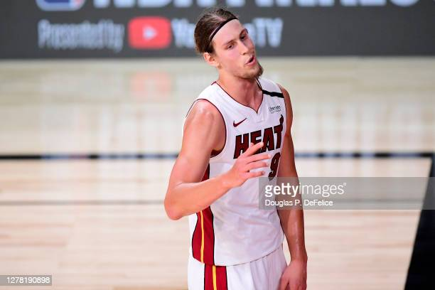 Kelly Olynyk of the Miami Heat reacts during the second half against the Los Angeles Lakers in Game Two of the 2020 NBA Finals at AdventHealth Arena...
