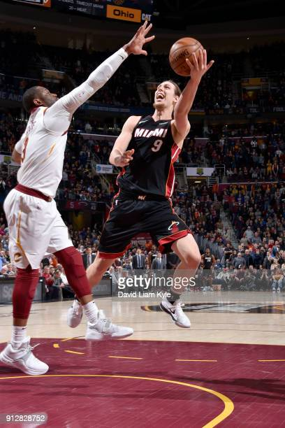 Kelly Olynyk of the Miami Heat shoots the ball against the Cleveland Cavaliers on January 31 2018 at Quicken Loans Arena in Cleveland Ohio NOTE TO...