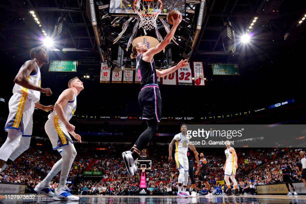 Kelly Olynyk of the Miami Heat shoots the ball against the Golden State Warriors on February 27 2019 at American Airlines Arena in Miami Florida NOTE...