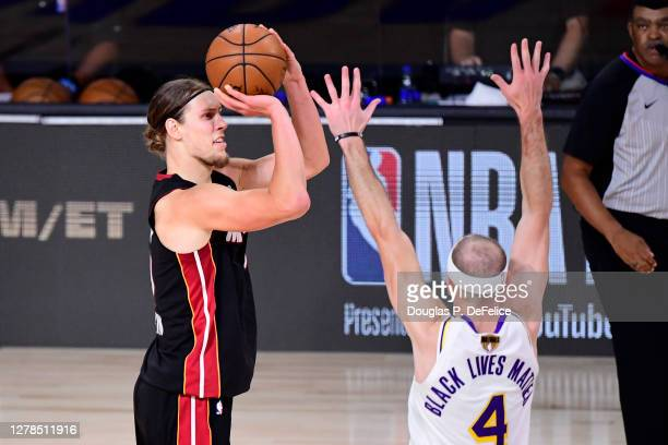 Kelly Olynyk of the Miami Heat shoots the ball during the second half against the Los Angeles Lakers in Game Three of the 2020 NBA Finals at...
