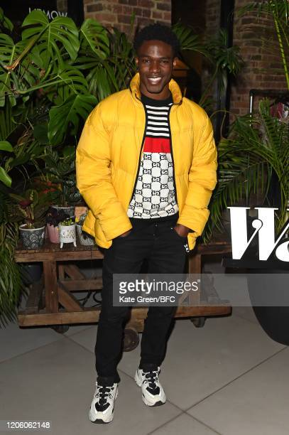 Kelly Osasere attends the Wolf Badger 10th Year Anniversary party during London Fashion Week February 2020 at Coal Drops Yard on February 13 2020 in...