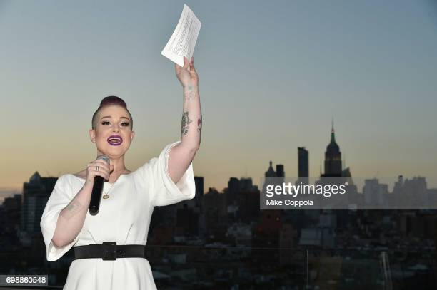 Kelly Osborne speaks at the amfAR generationCURE Solstice 2017 at Mr Purple on June 20 2017 in New York City