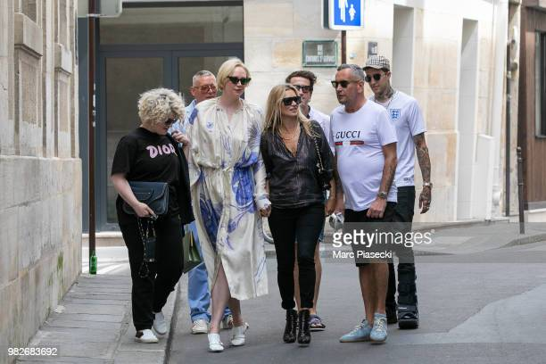 Kelly Osbourne actress Gwendoline Christie supermodel Kate Moss and DJ Fat Tony are seen on June 24 2018 in Paris France